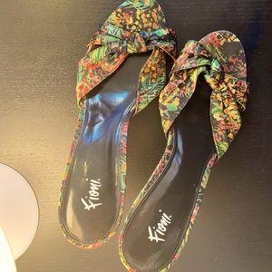 Fioni Mules Floral Fabric Slip On Kitten Heels
